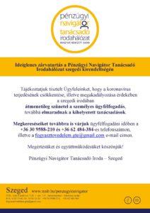 Szeged PNTI – Ideiglenes zárvatartás a személyes ügyfélfogadásban 2021.04. hóban @ 6726 Szeged