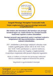 Szeged PNTI - ügyfélfogadás 2021.10. hóban @ Szeged PNTI Iroda